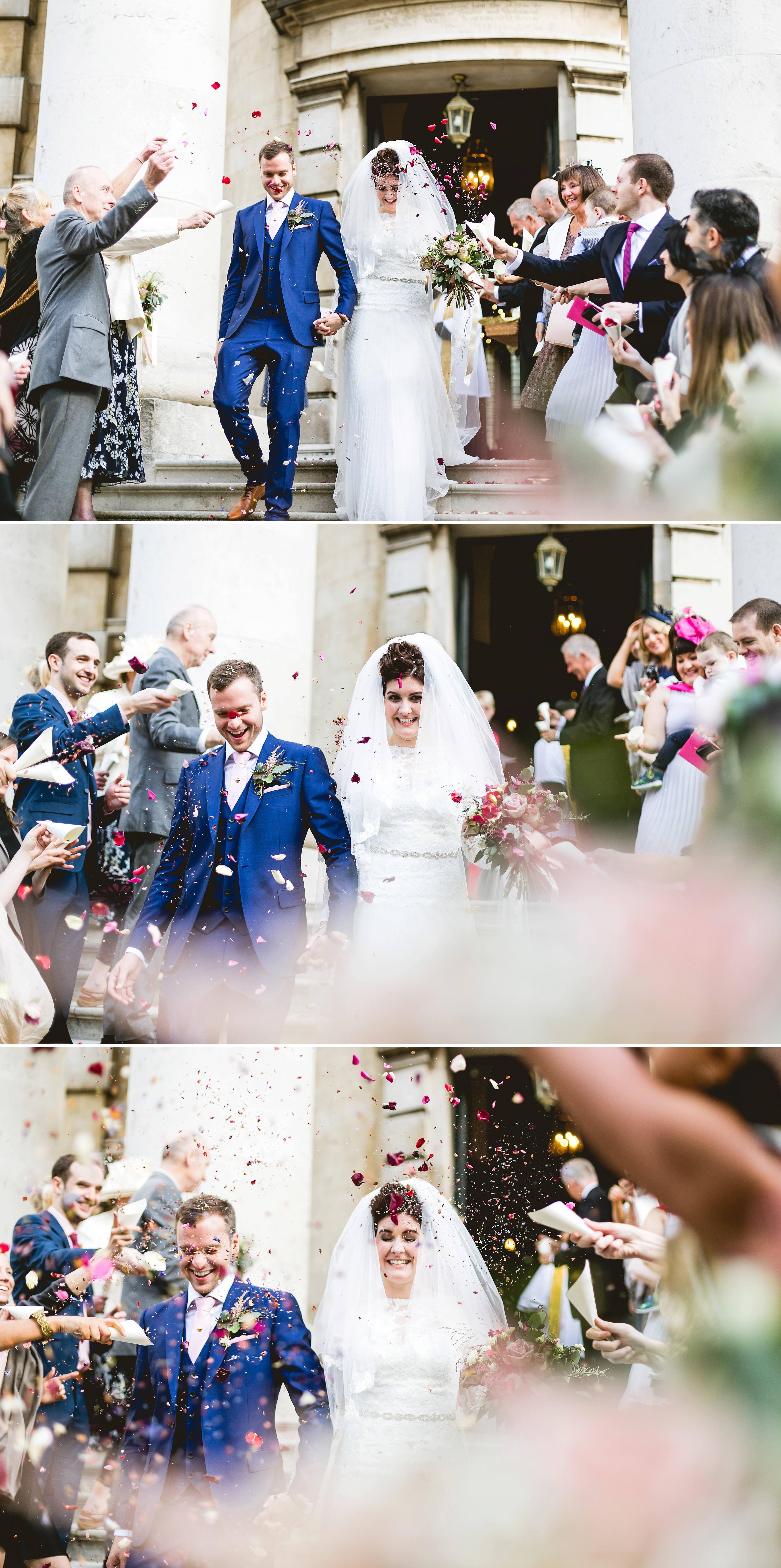St Paul's church in Deptford wedding ceremony photos conffetti