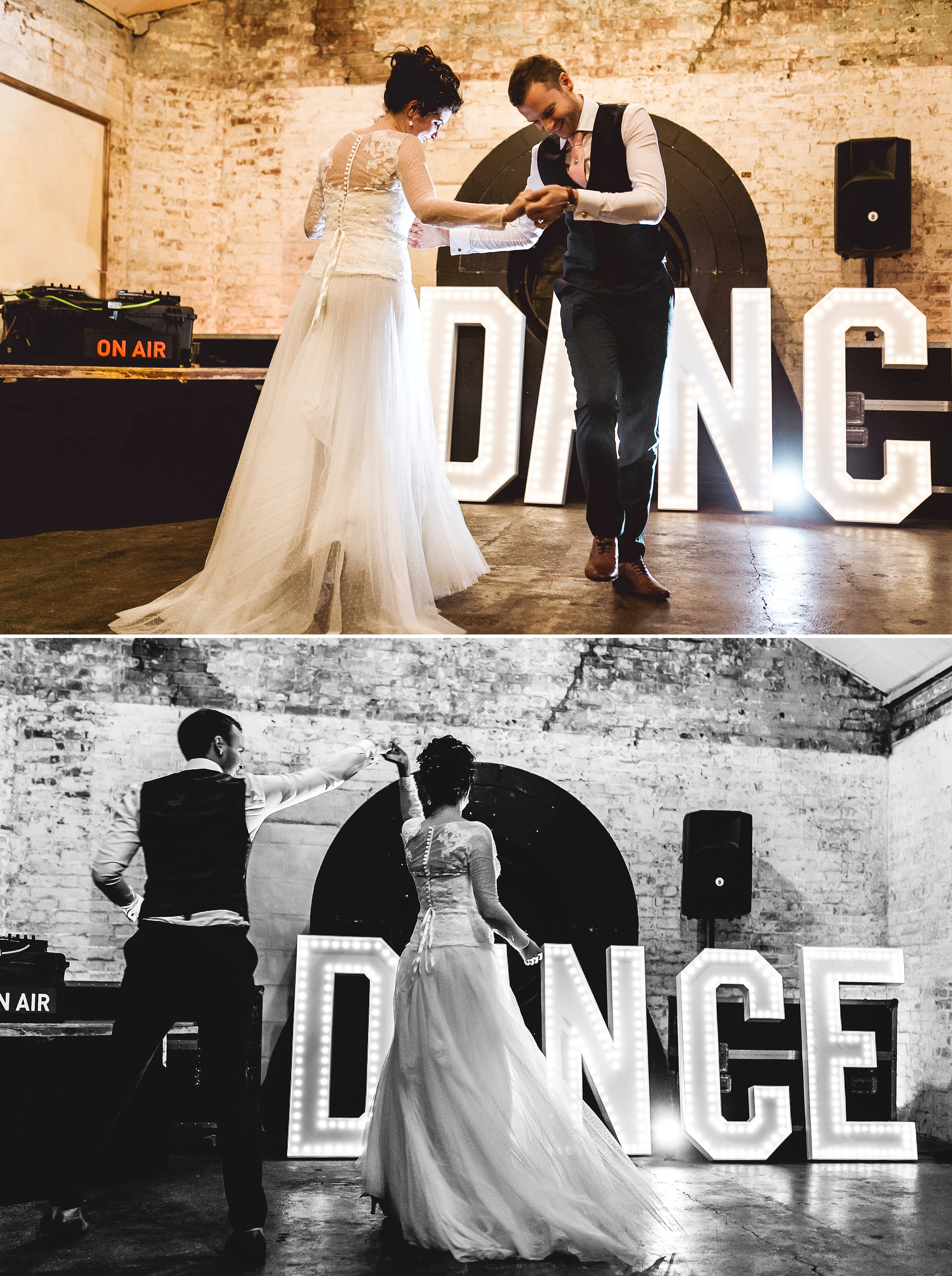 neon letters gatsby quirky wedding in london warehouse one firendly place greenwich