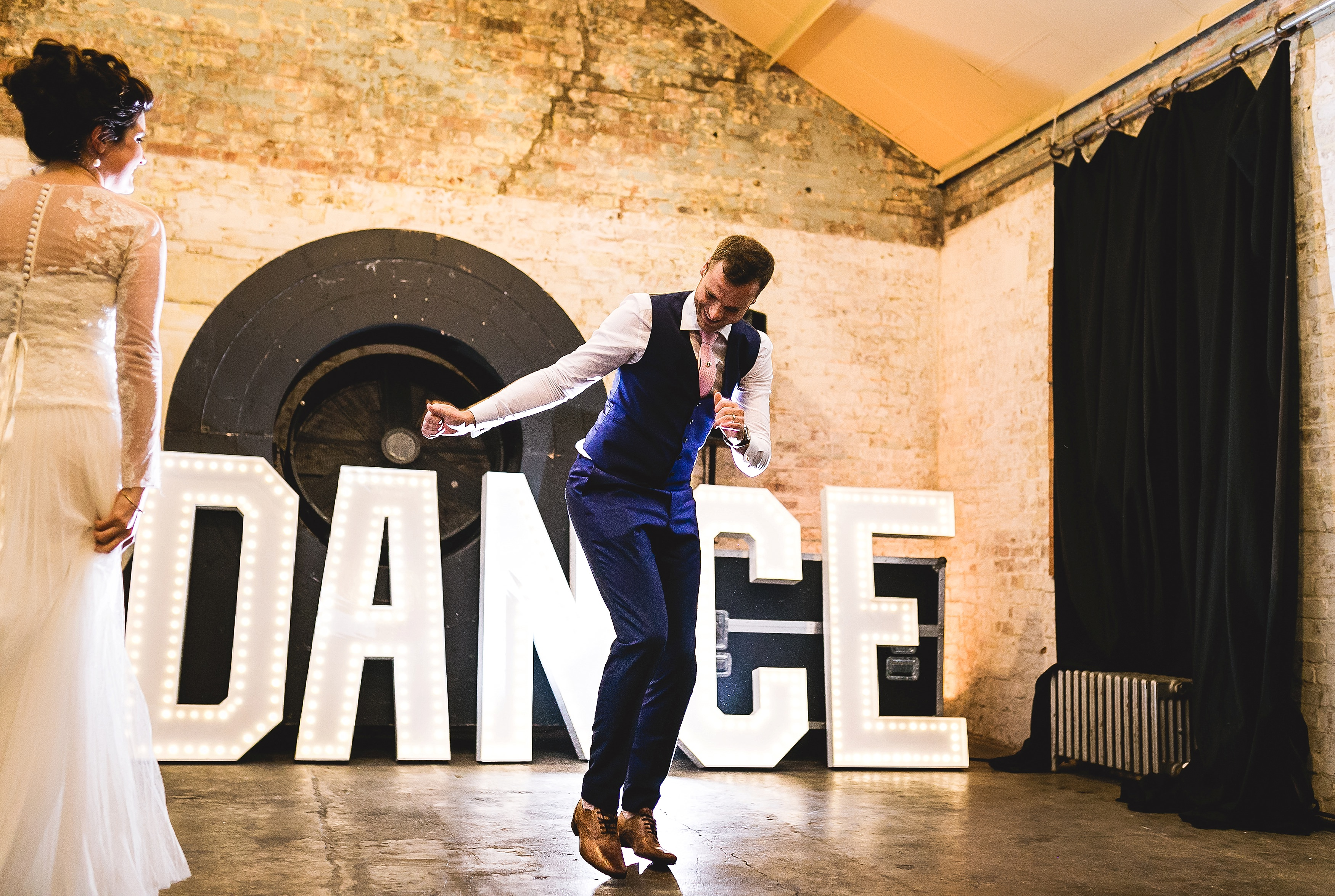 neon gatsby quirky wedding in london warehouse one firendly place greenwich