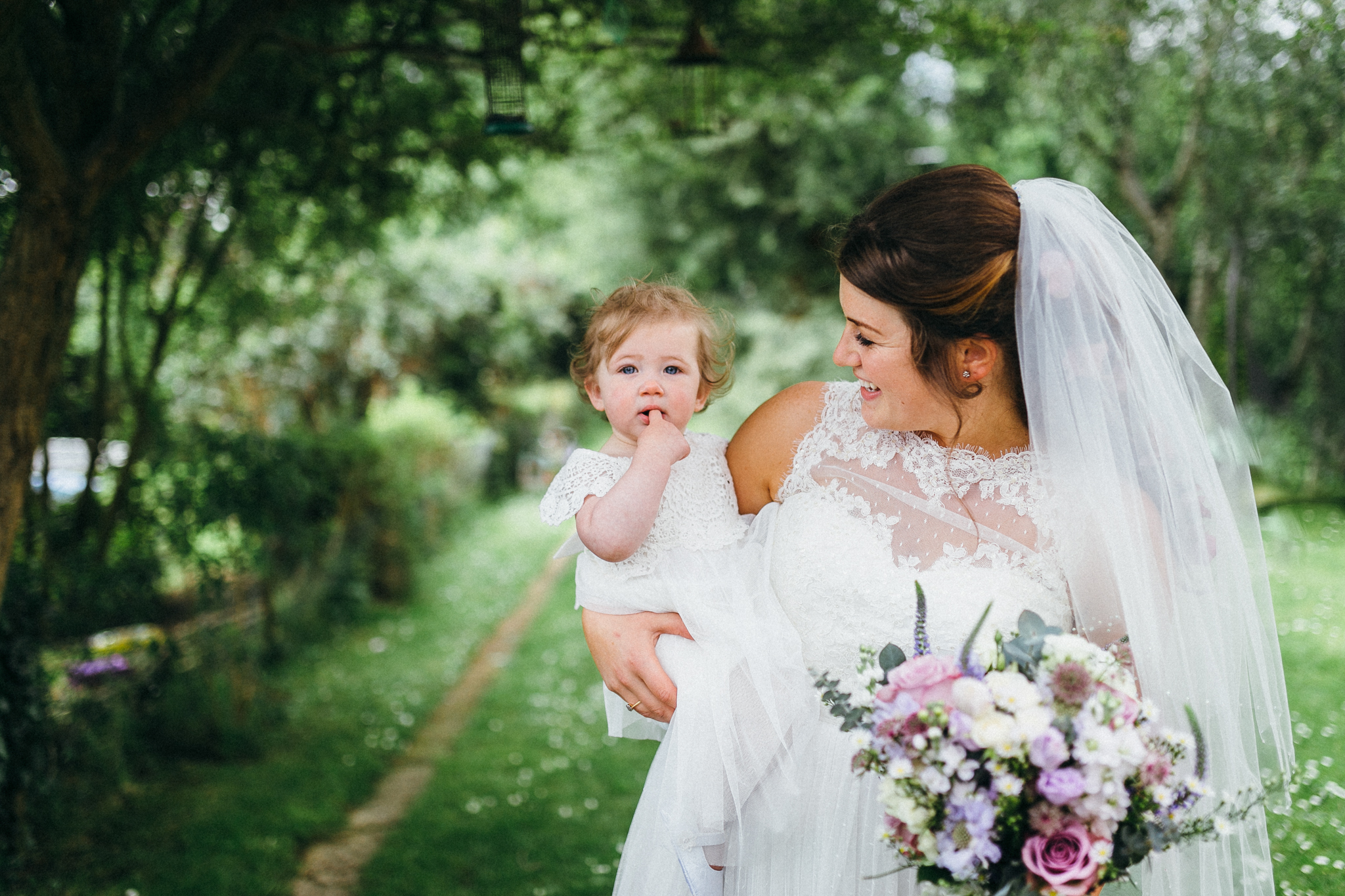 colorful rustic and vintage tipi wedding photography in surrey bride and daughter