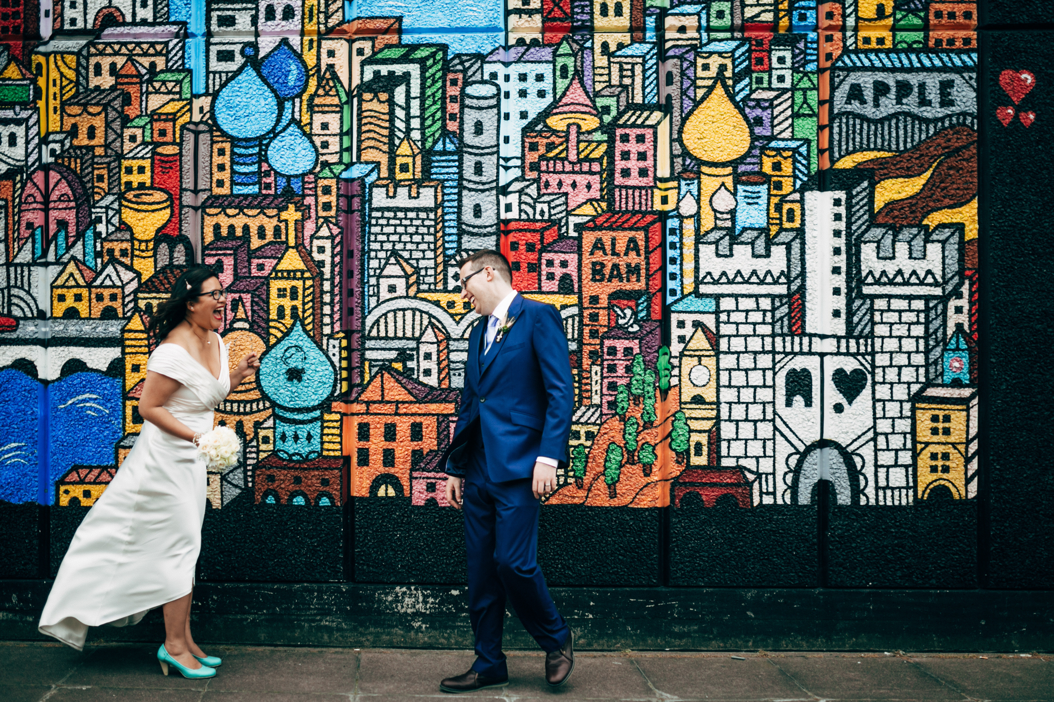bride and groom couples potraits fun wedding photos in south bank by destination london wedding photographer