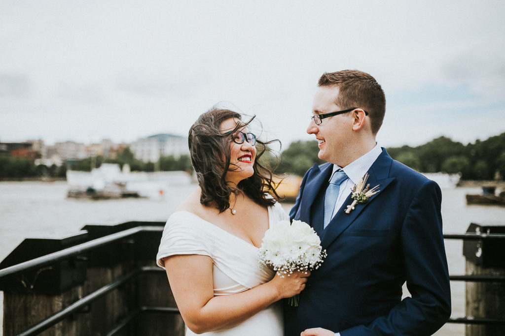 bride and groom married at south bank