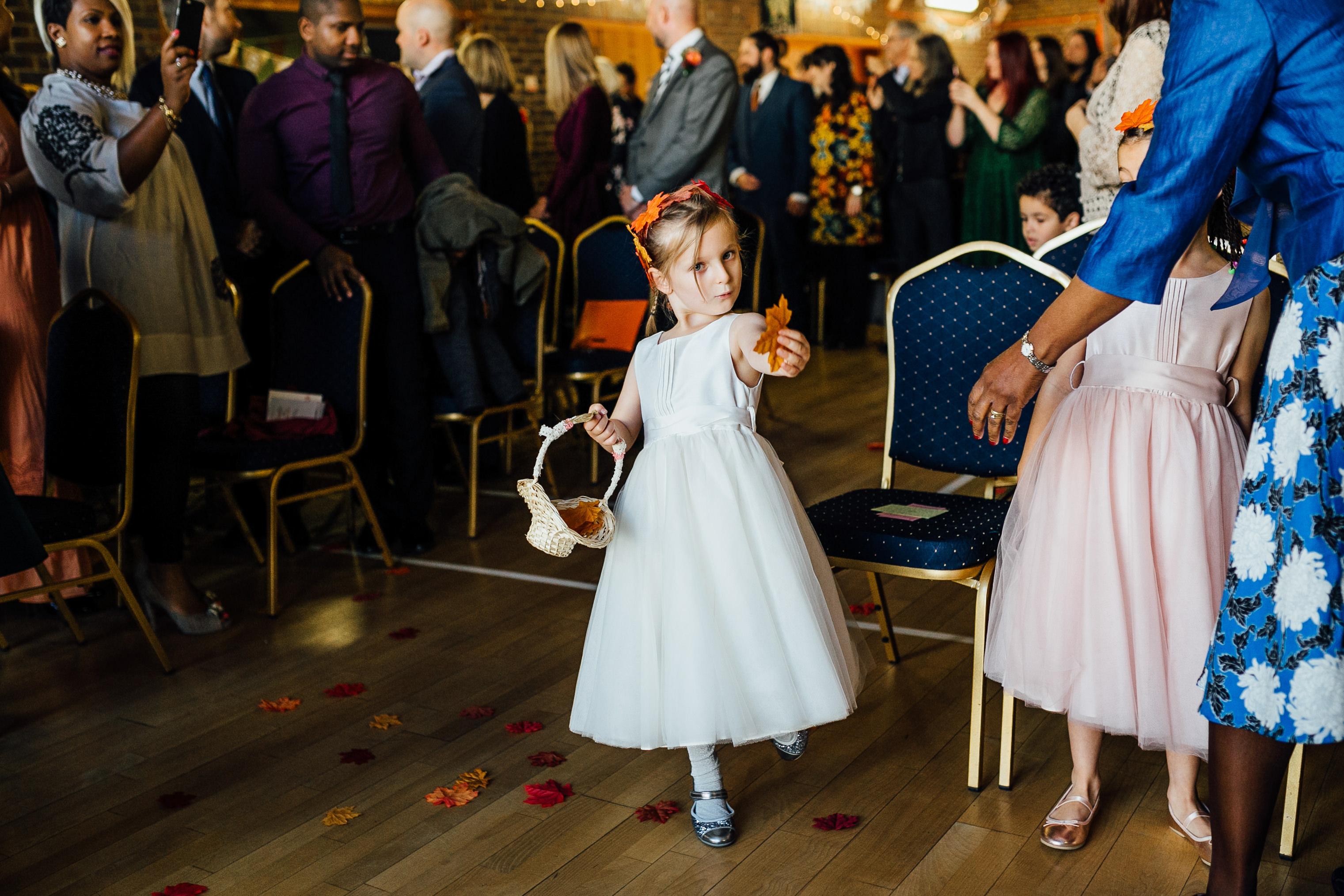 flower girl fun autumn wedding