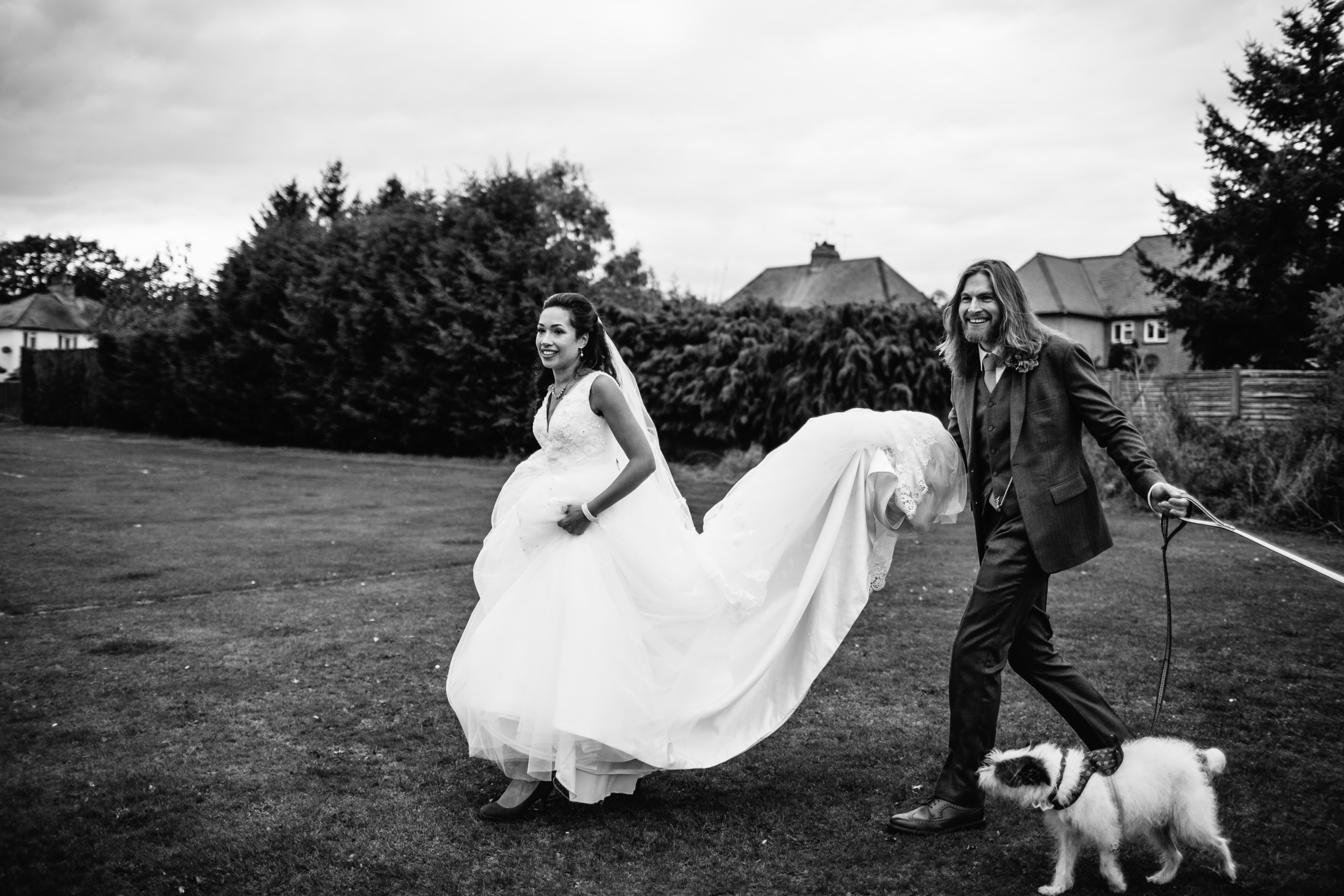 fun wedding photographs autumn wedding london with dogs