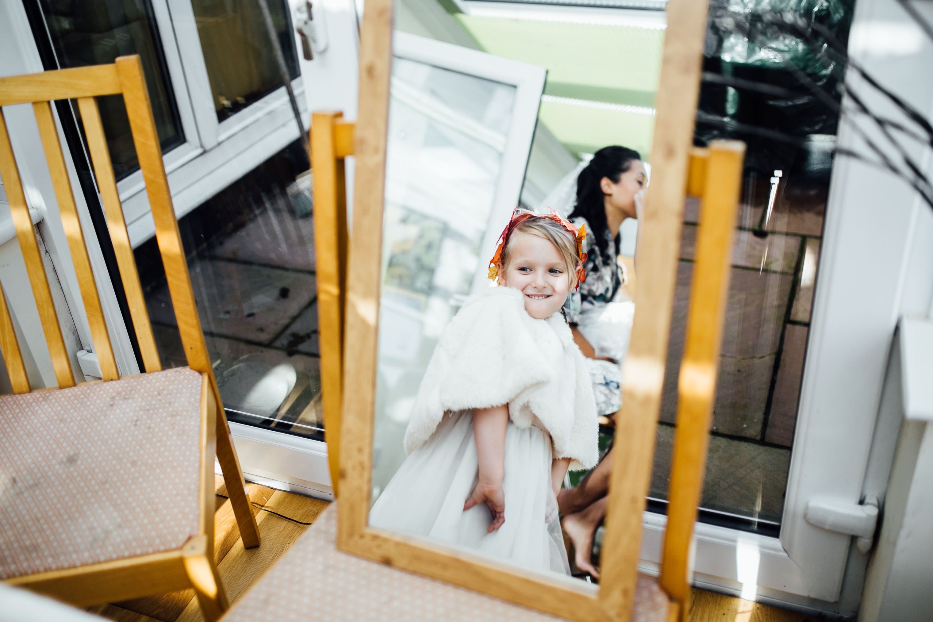 quirky fun autumn wedding in london wedding photographer documentary style prep at home