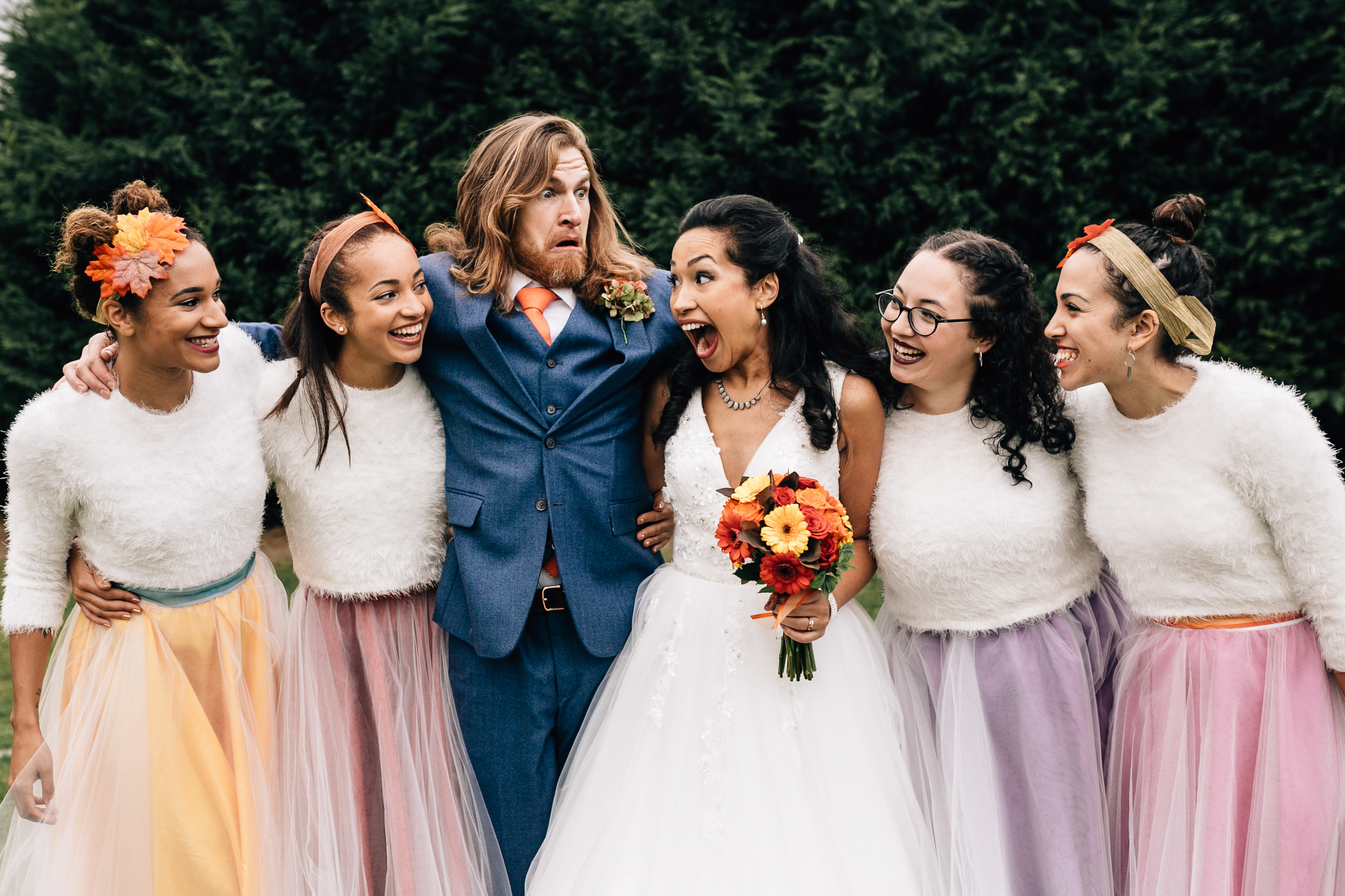 fun quirky london wedding photographer autumun bridesmaids