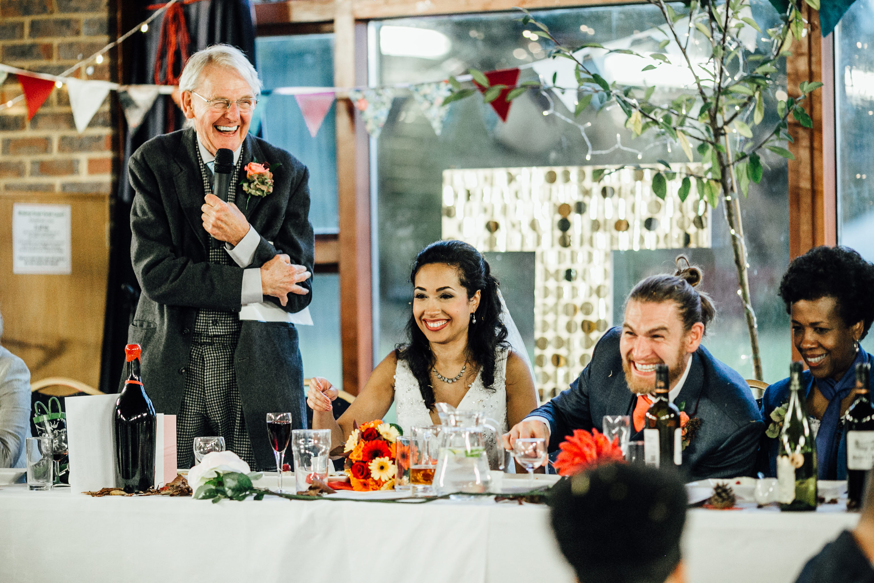 quirky fun autumn wedding in london wedding photographer documentary style speeches
