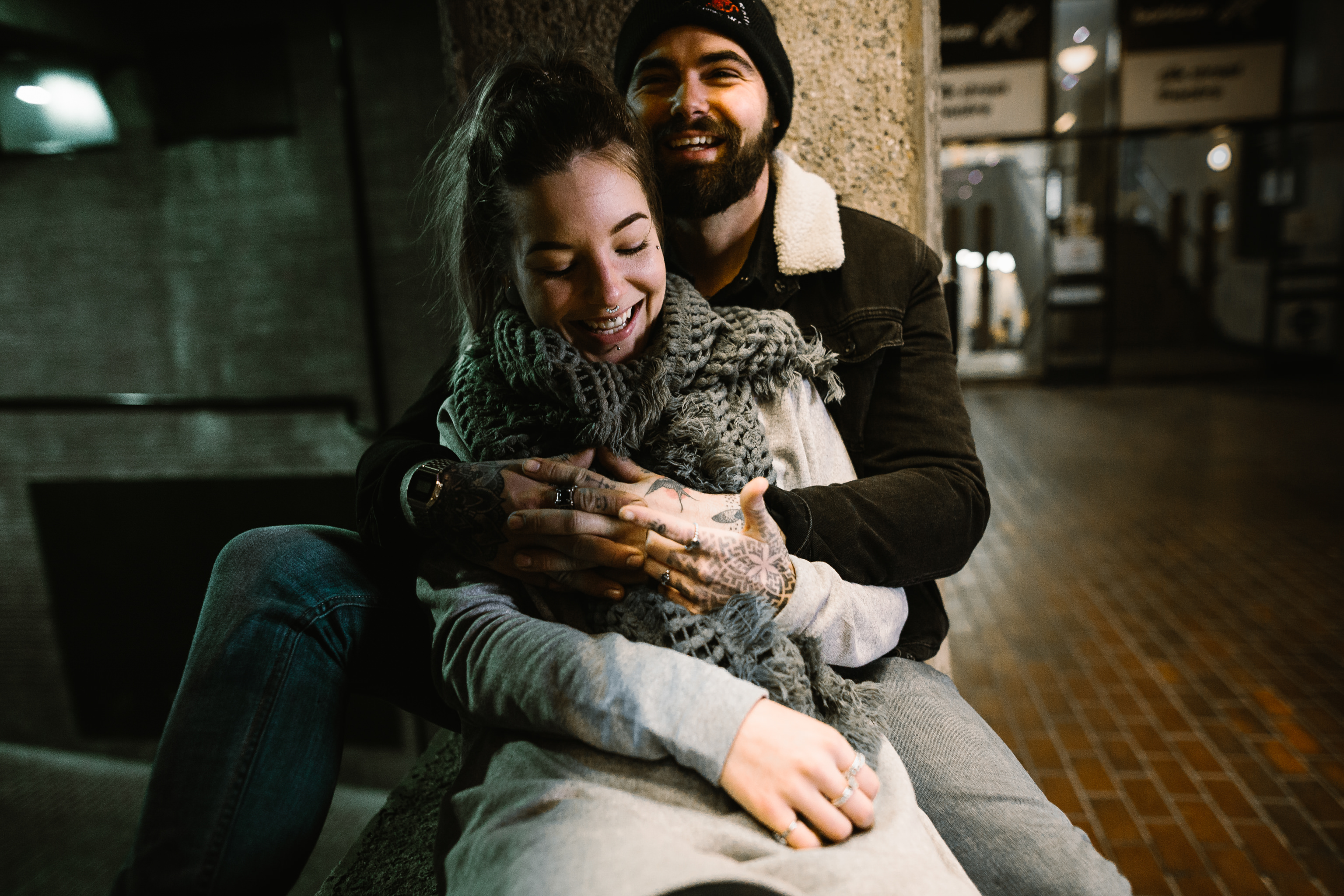 London engagement shoot at the barbican centre by london wedding photographer