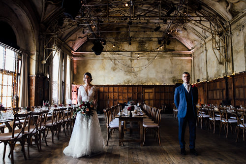 battersea arts centre hall with wedding couple