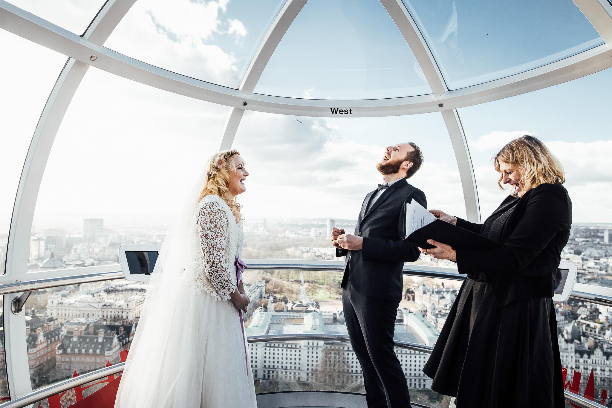 elopement photographer inside london eye humanist ceremony