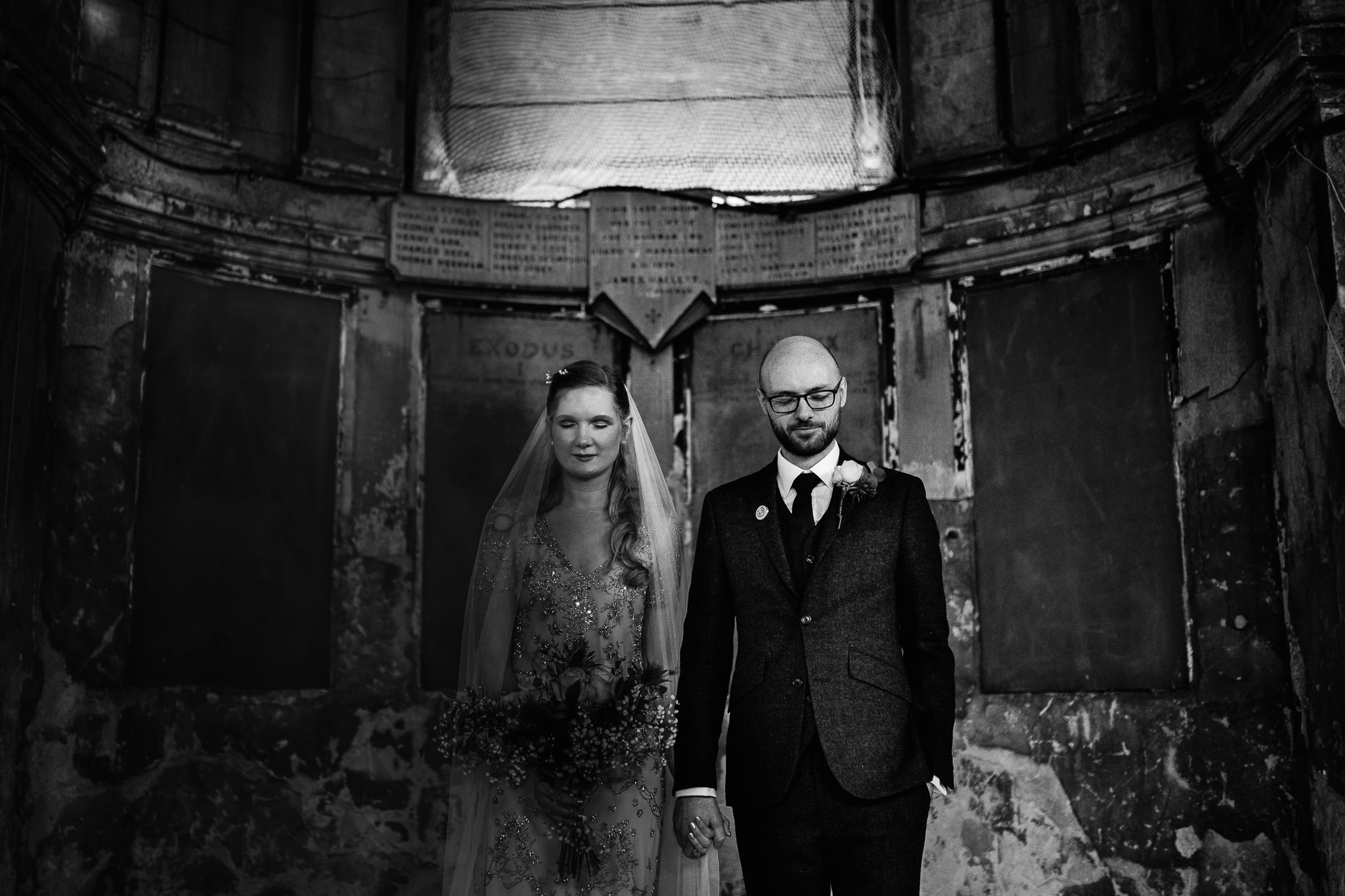bride and groom wedding at the asylum chapel london