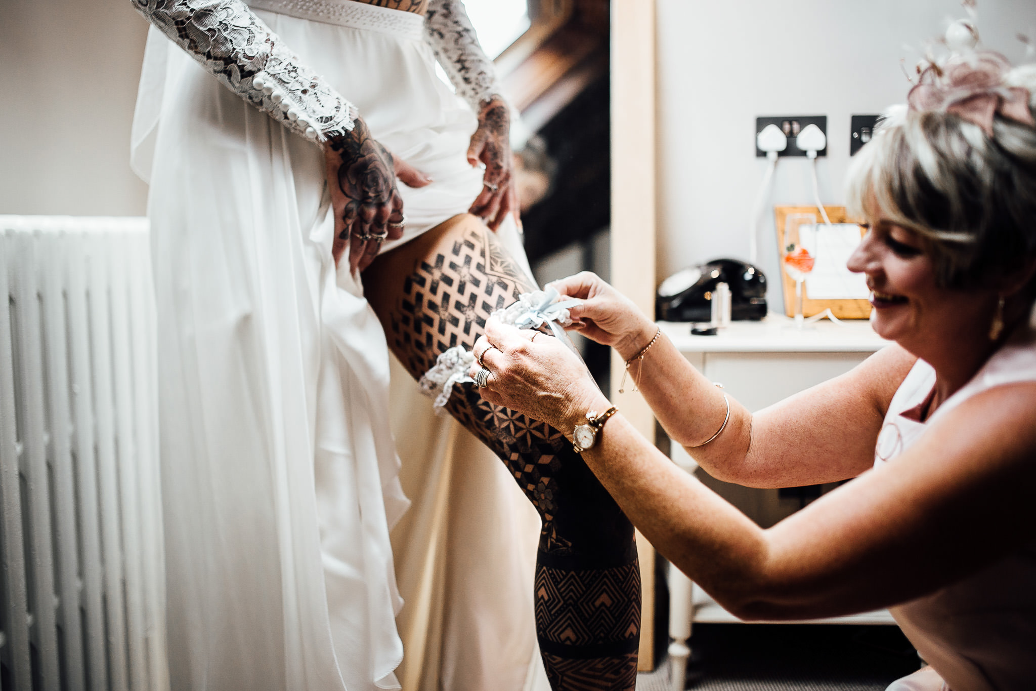 tattooed bride dress