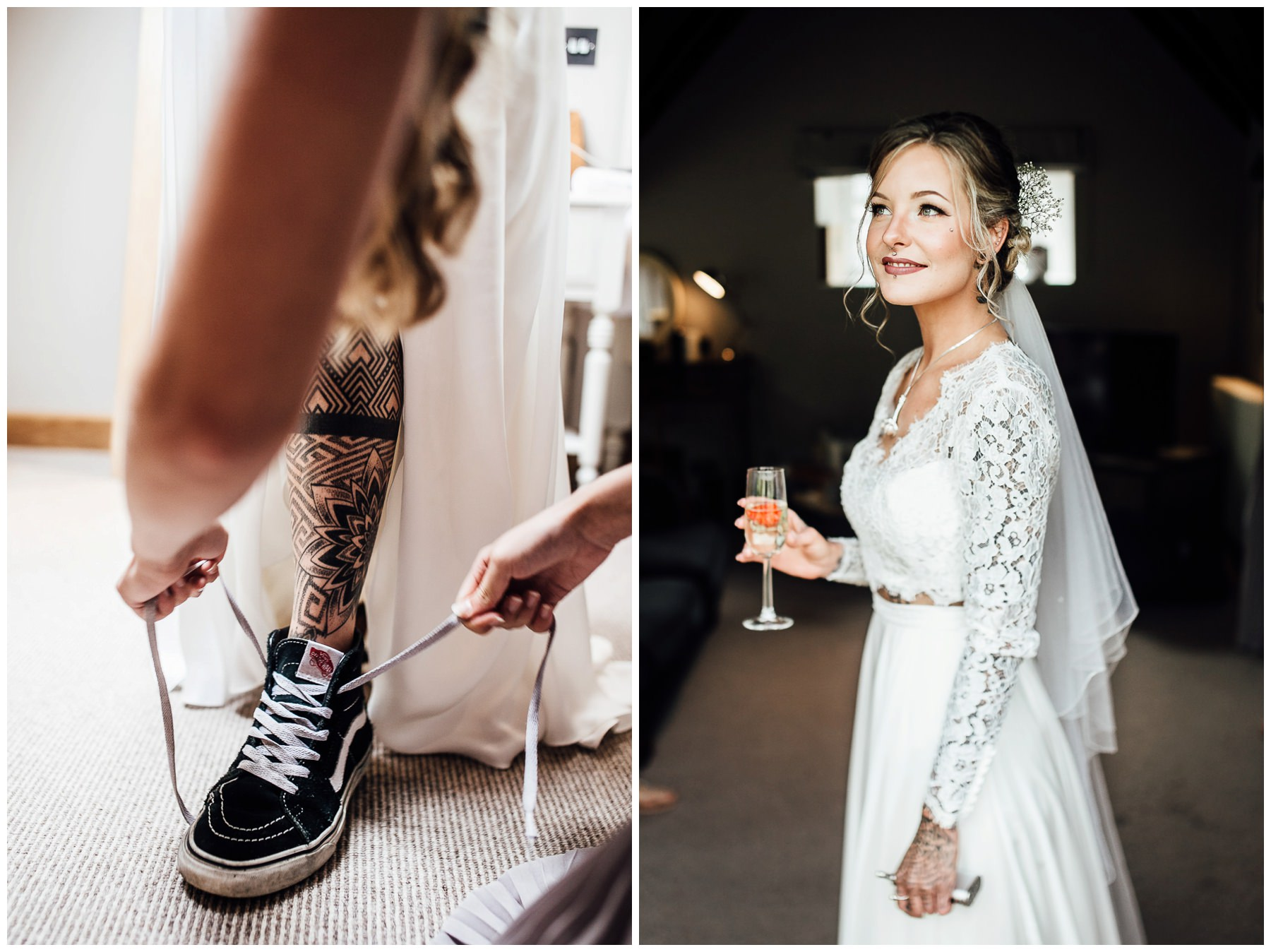 tattooed bride wearing vans trainers to wedding