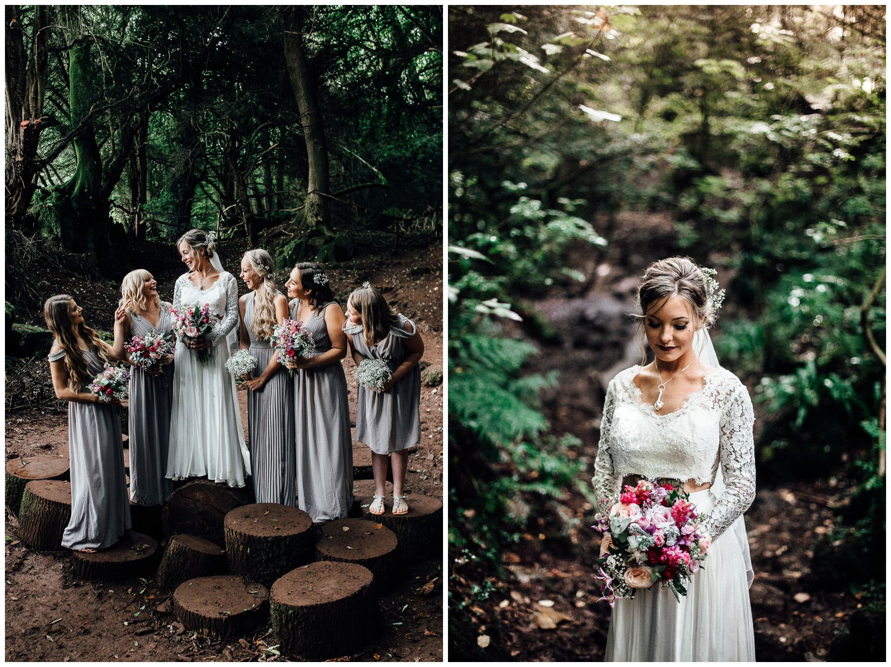 english woodland wedding photos bride and bridesmaids