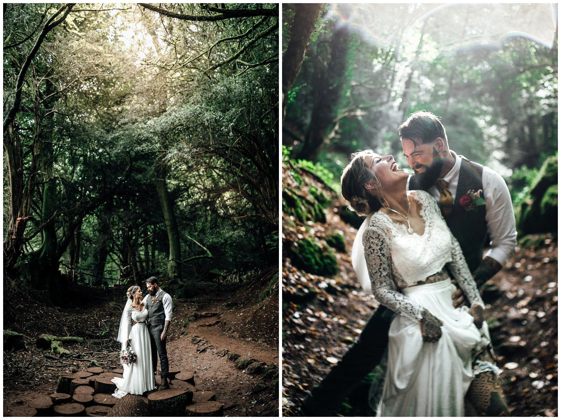 london woodland wedding photos bride and groom