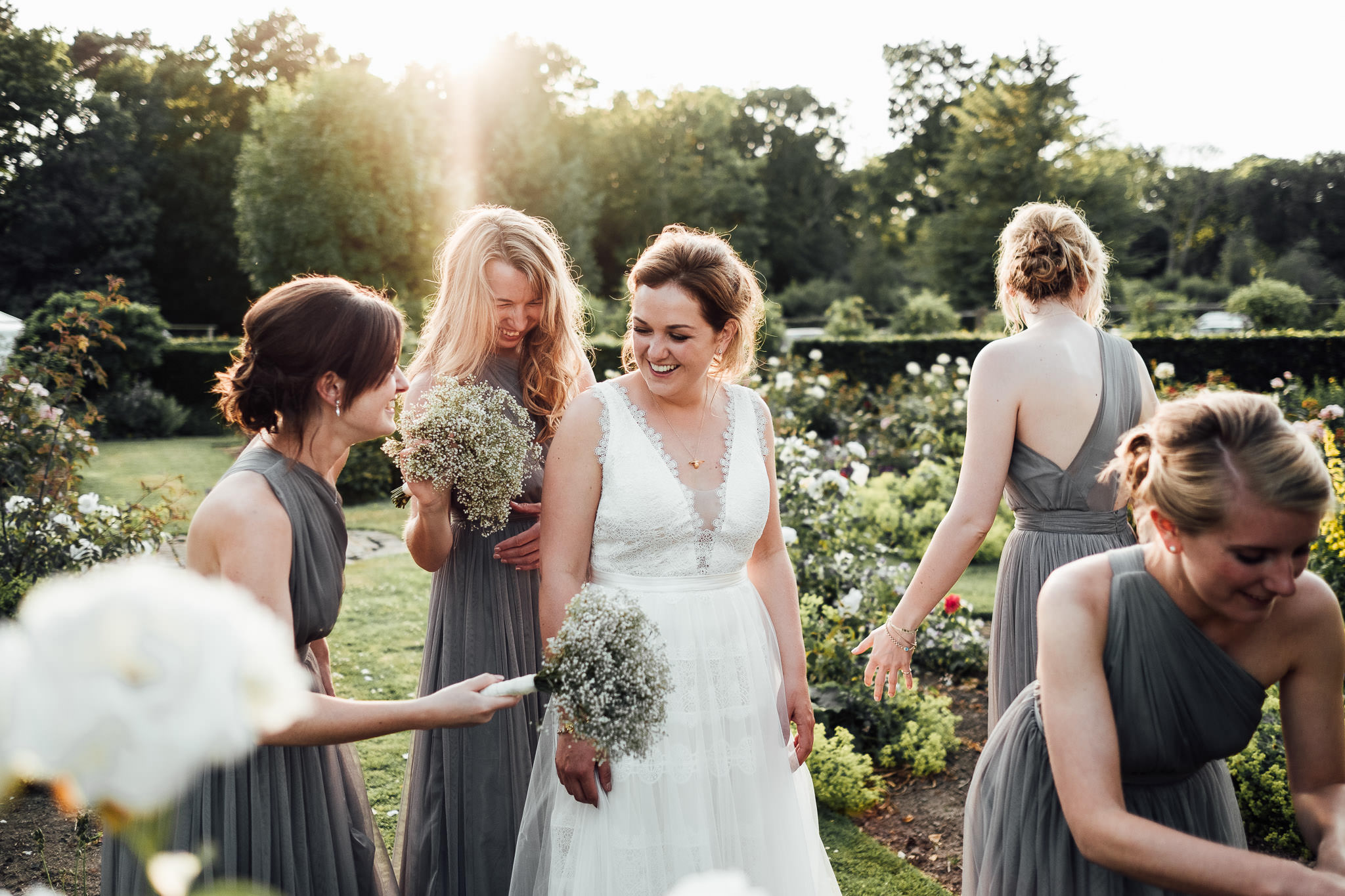 bride and bridesmaids home garden wedding