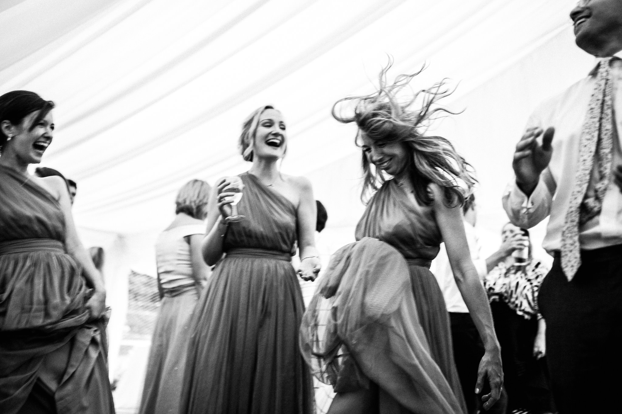 bridemaids dancing at weddings