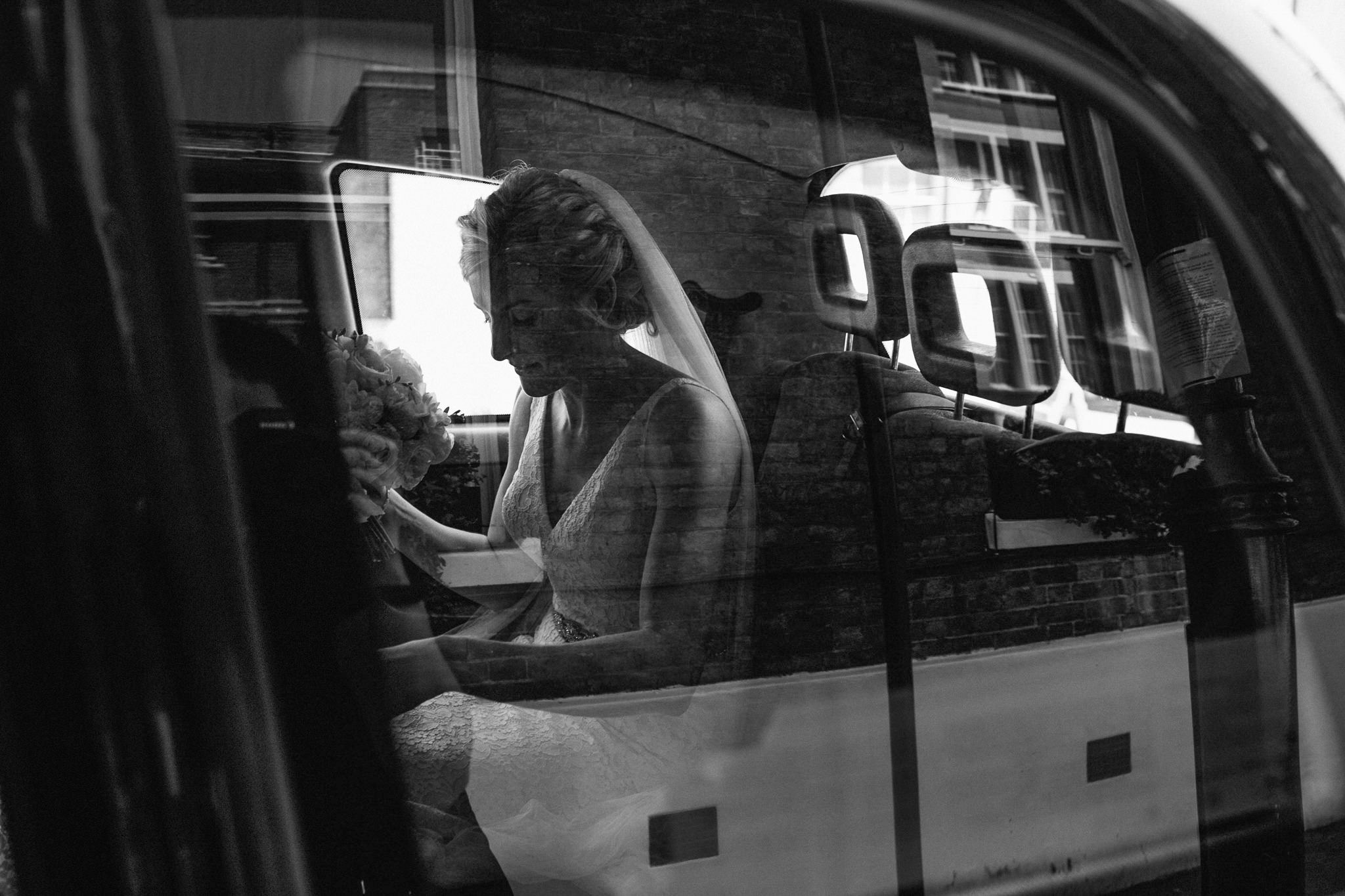 bride inside london black cab