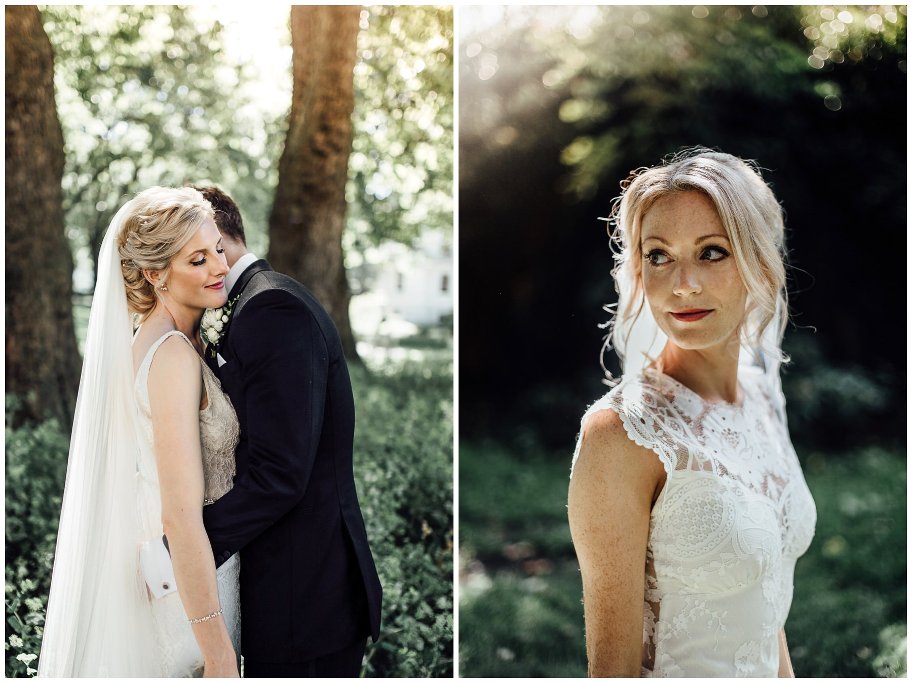 bride and groom secret river garden wedding photos