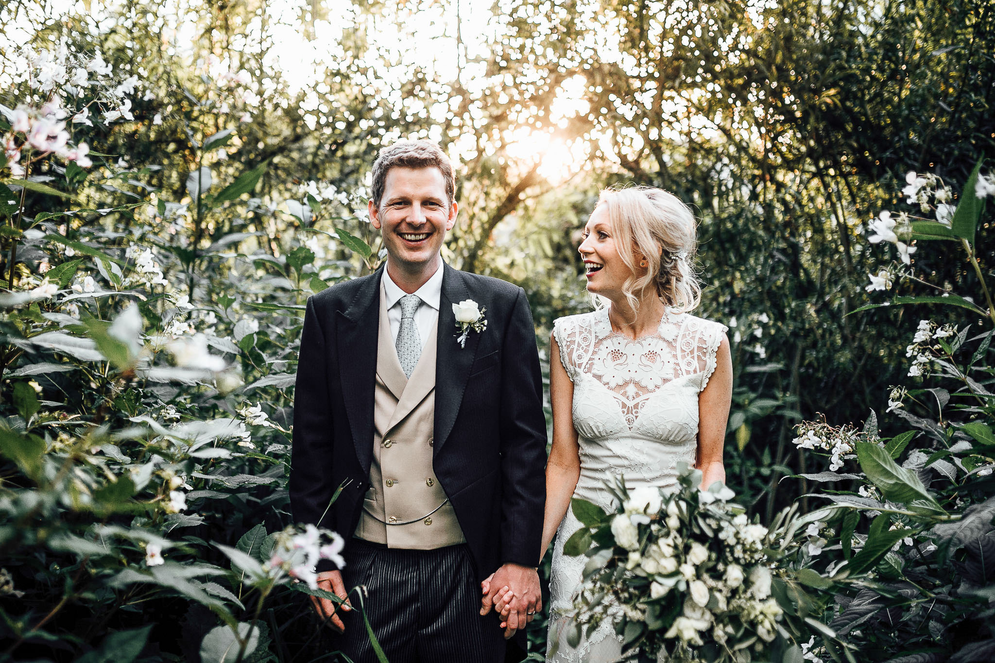 bride and groom photo at the secret river garden in twickenham