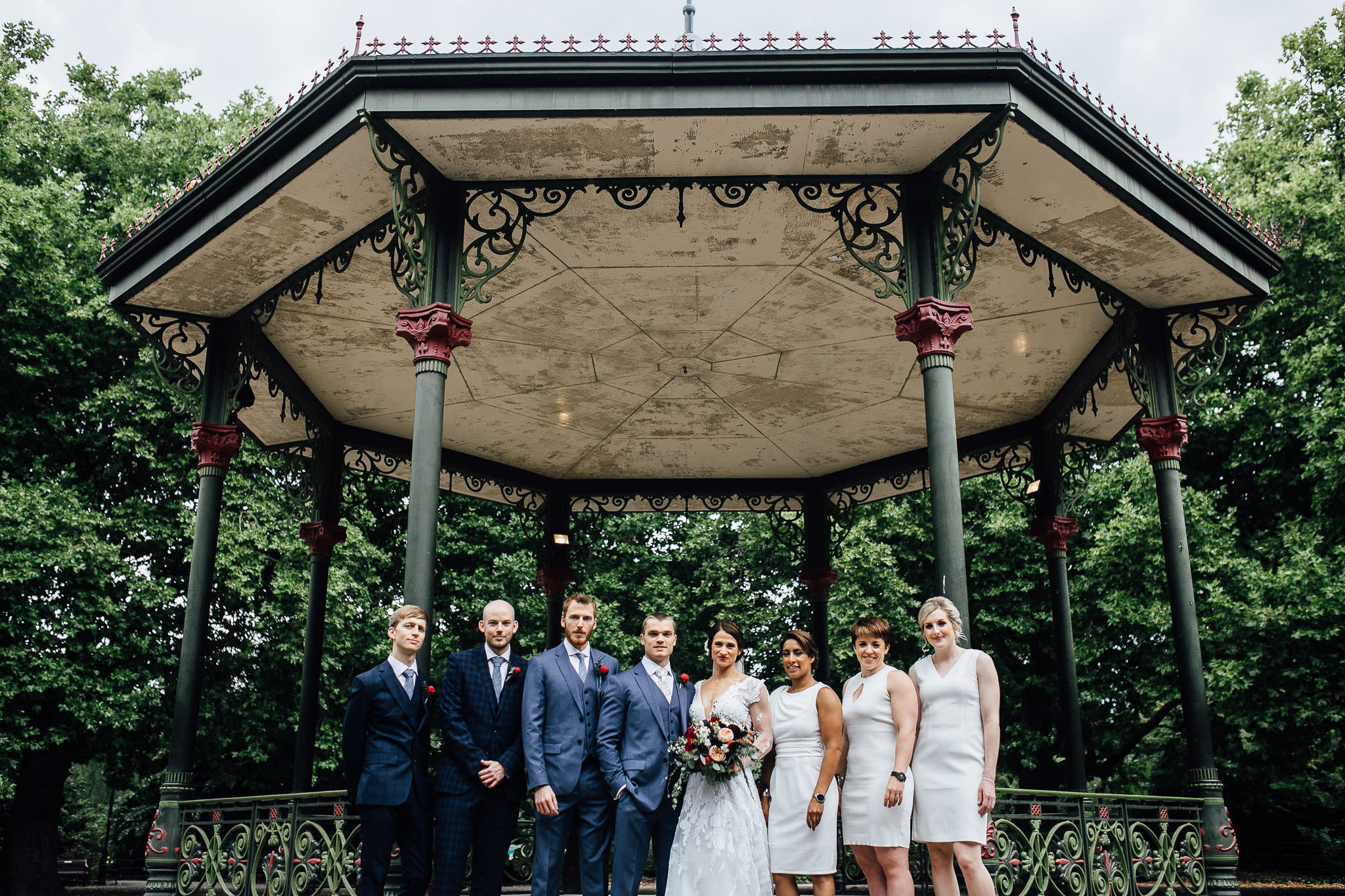 bridemaids and groomsmen at battersea park battersea arts centre wedding photos