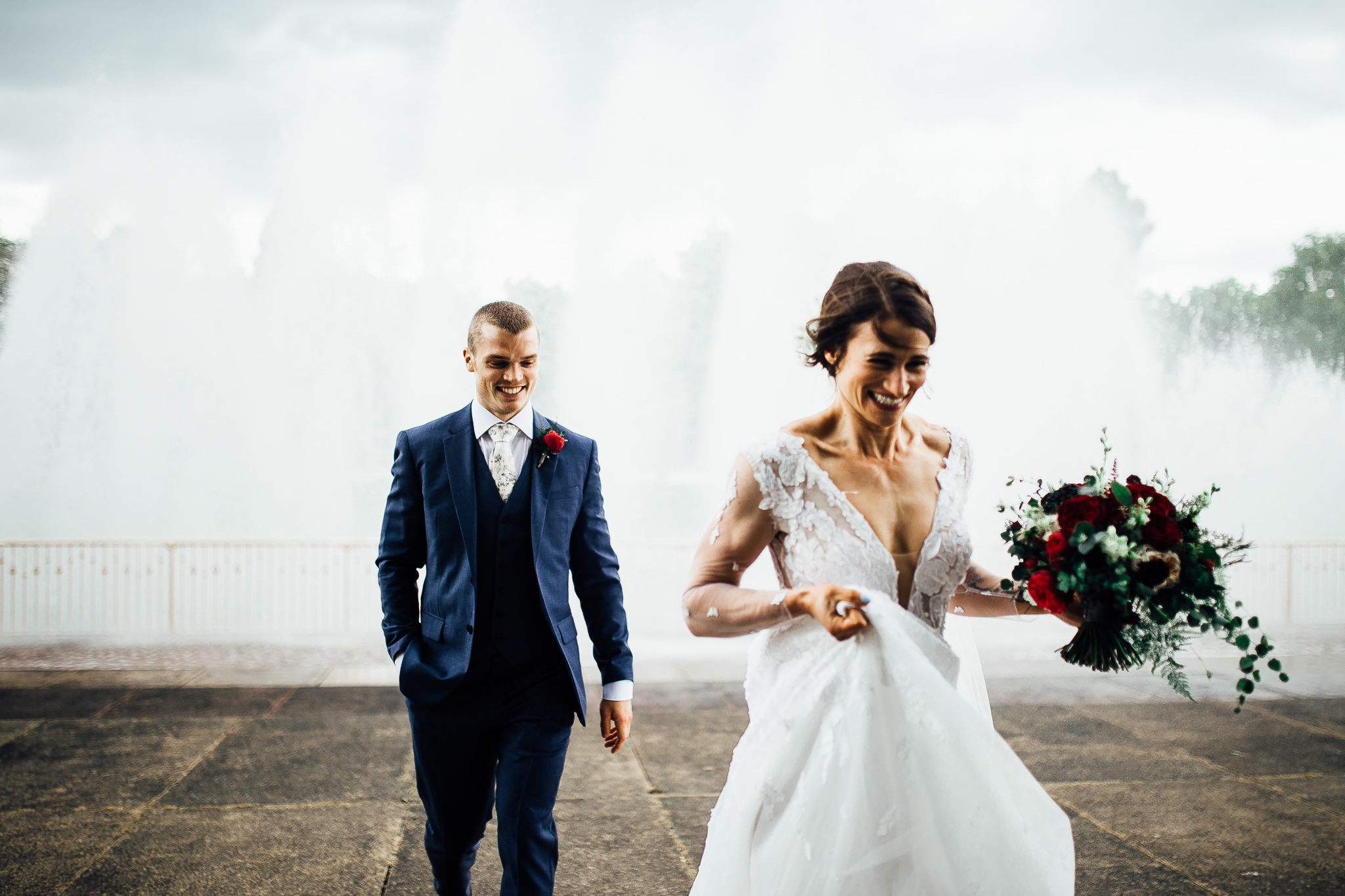 bride and groom at battersea park fun wedding photos
