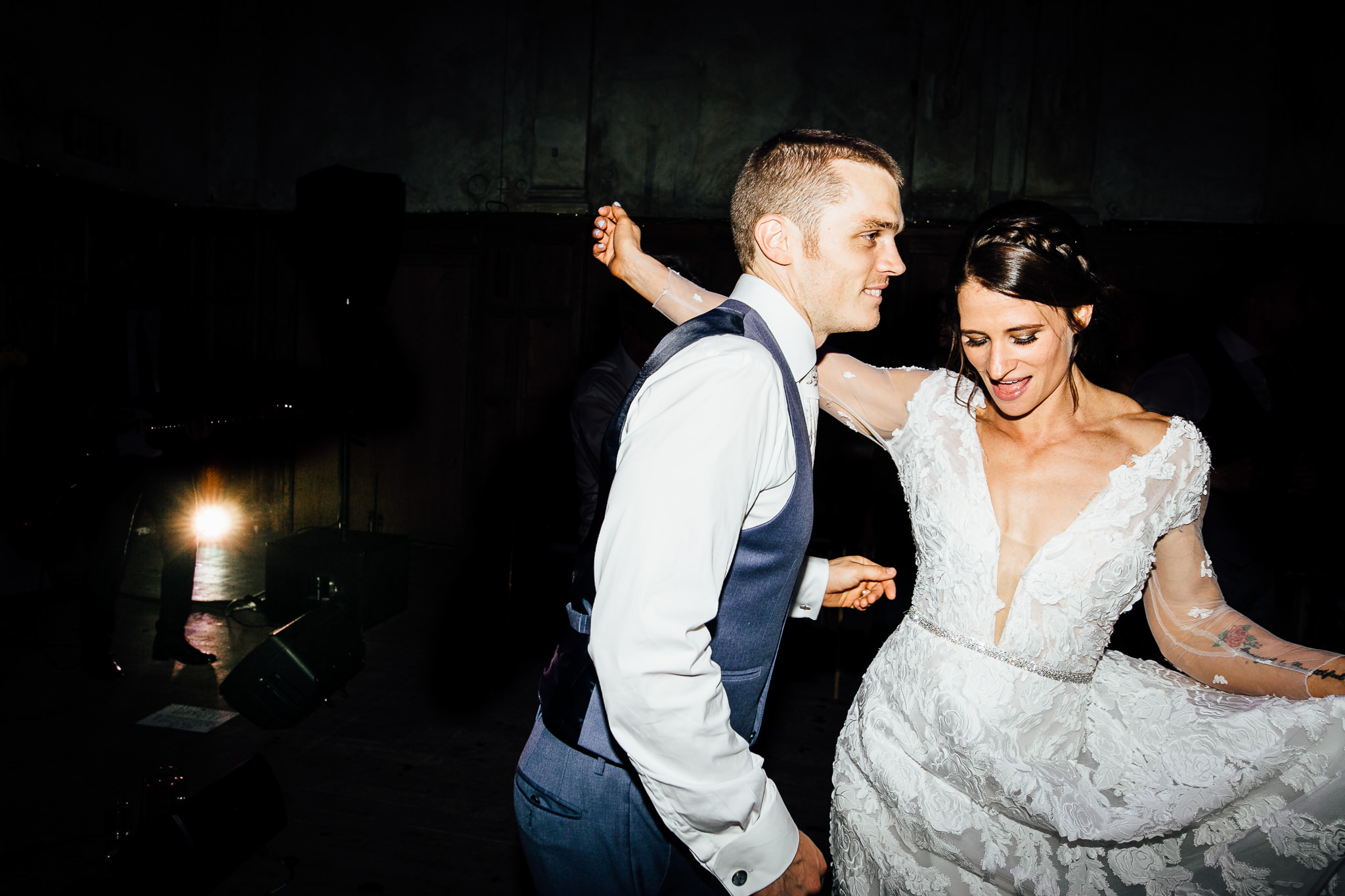 bride and groom dancing at battersea arts centre