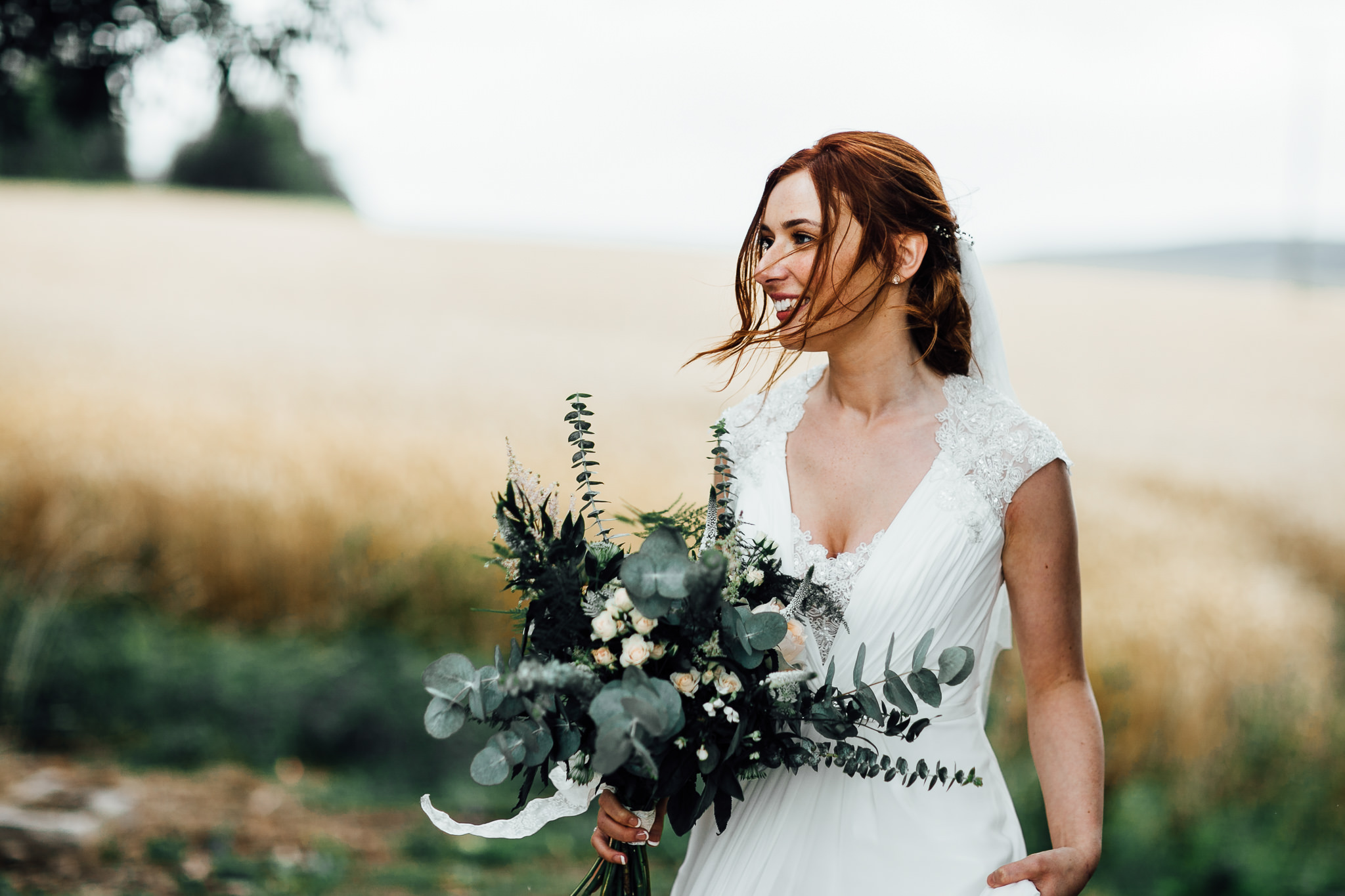 bride photos at a wheat field