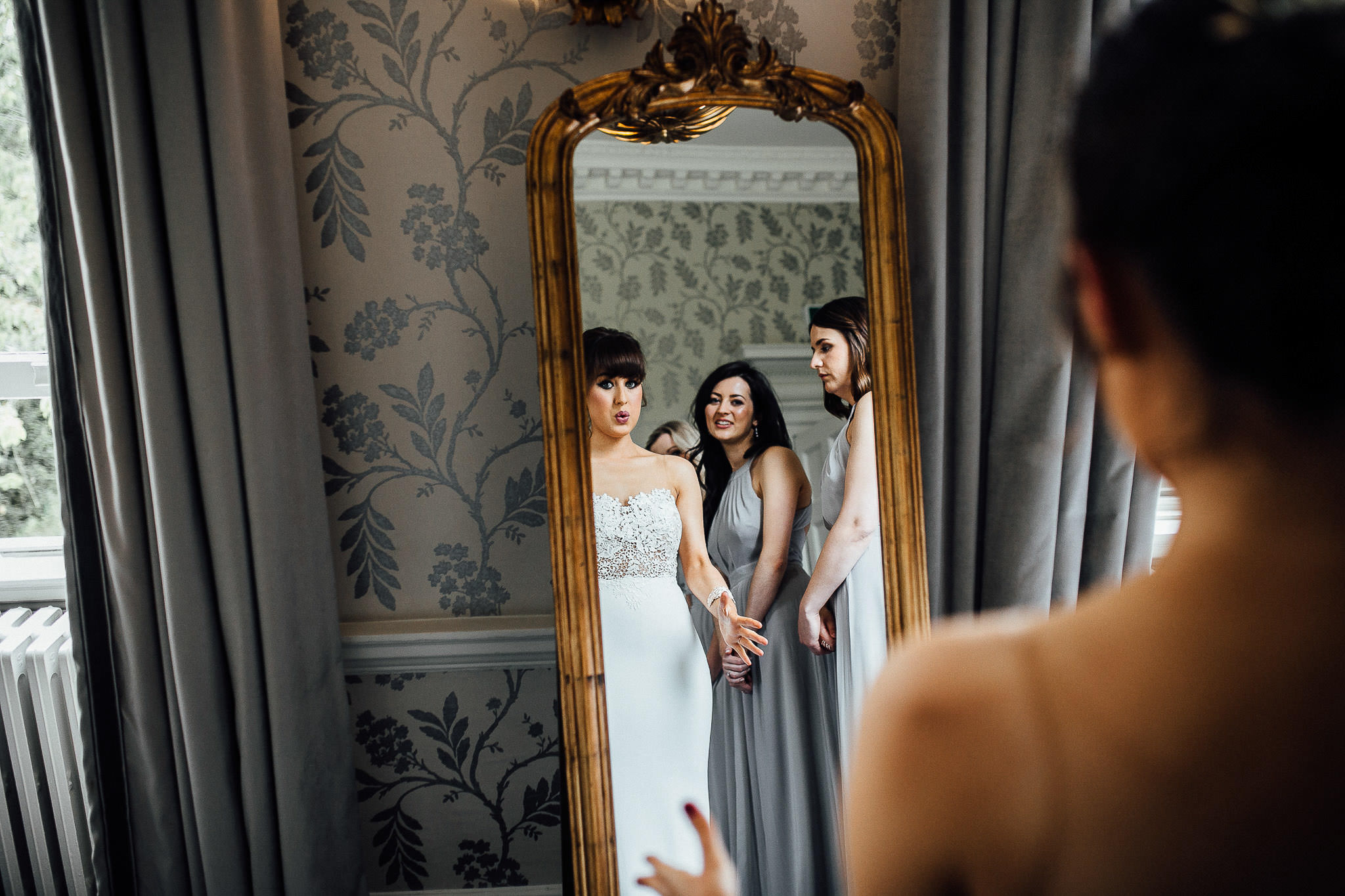 photos of bridal prep at morden hall wedding