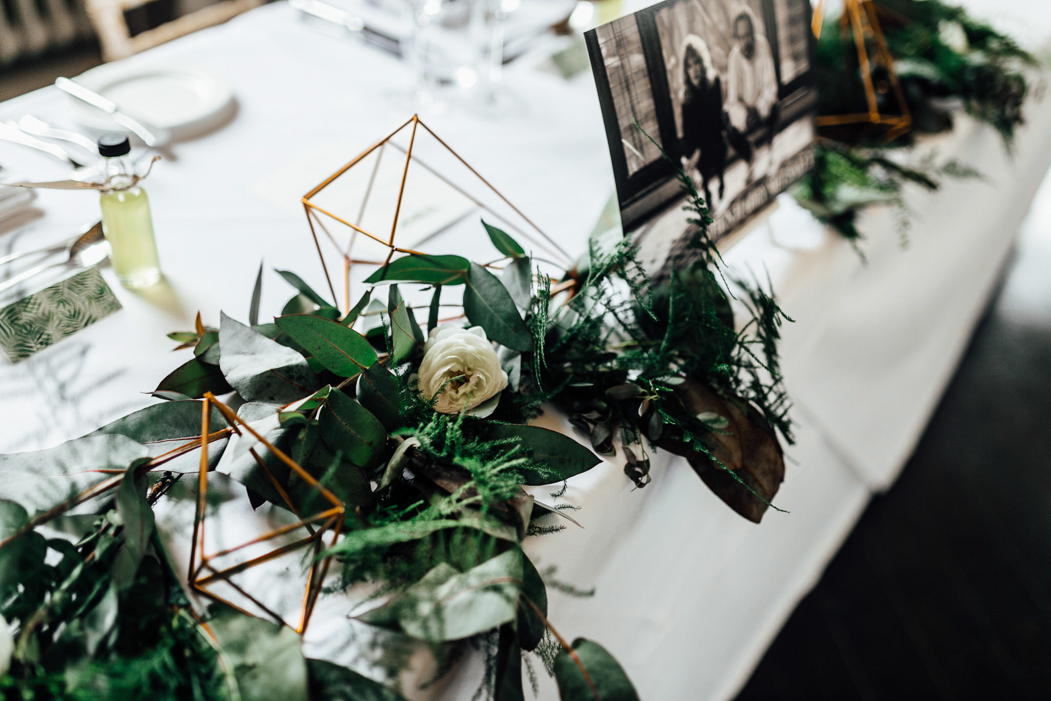 decoration of botanical geometrical theme wedding in london
