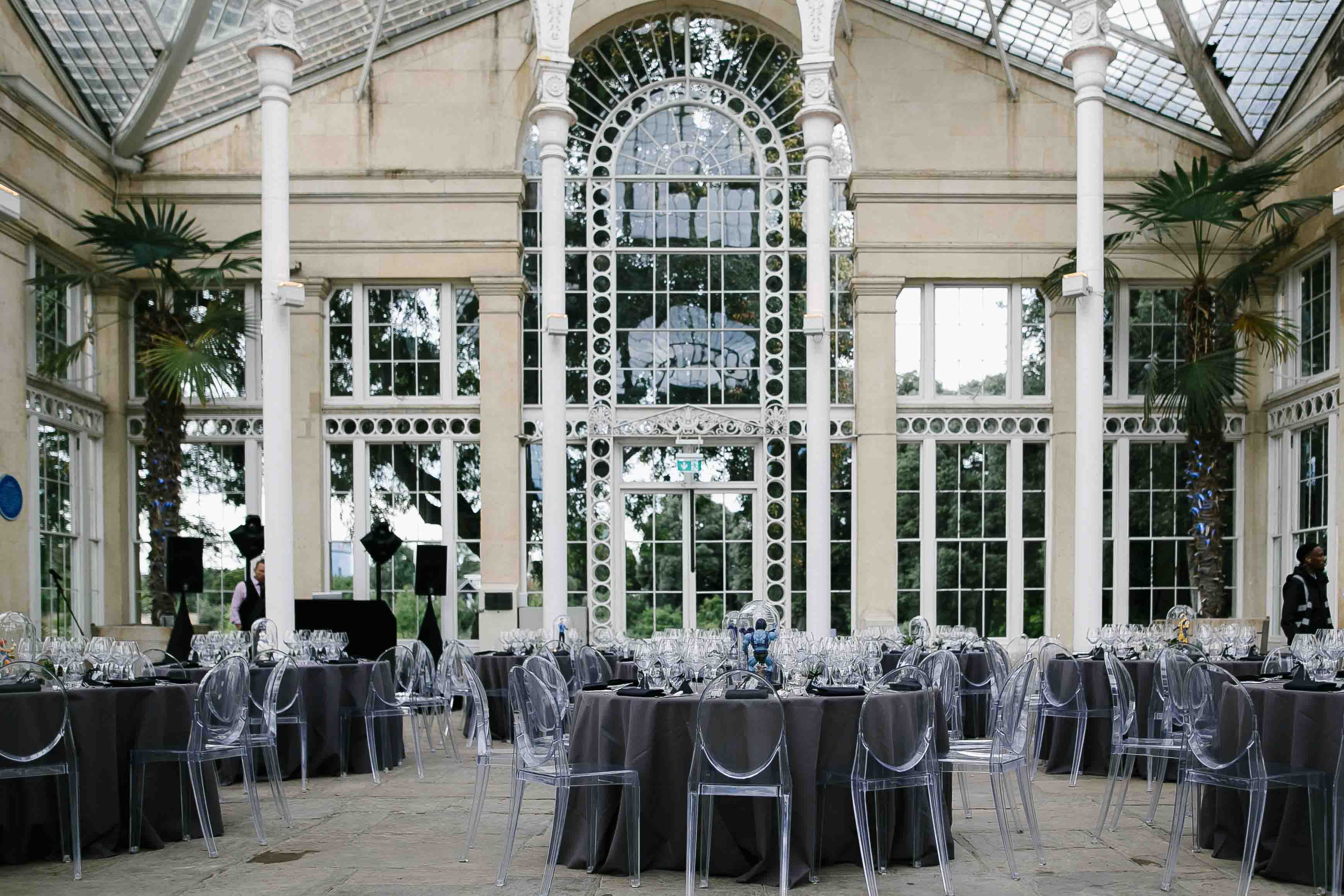 80s wedding theme at syon park conservatory