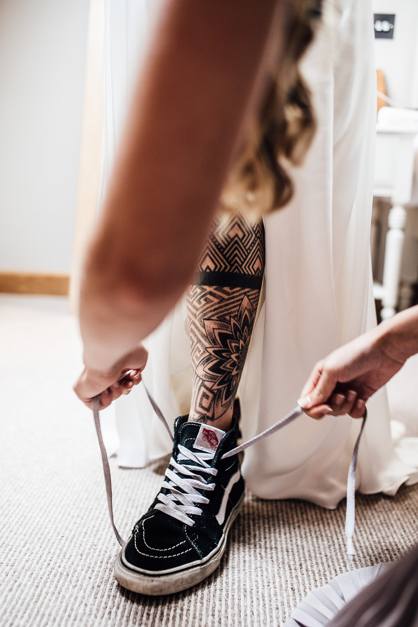 tattooed bride leg