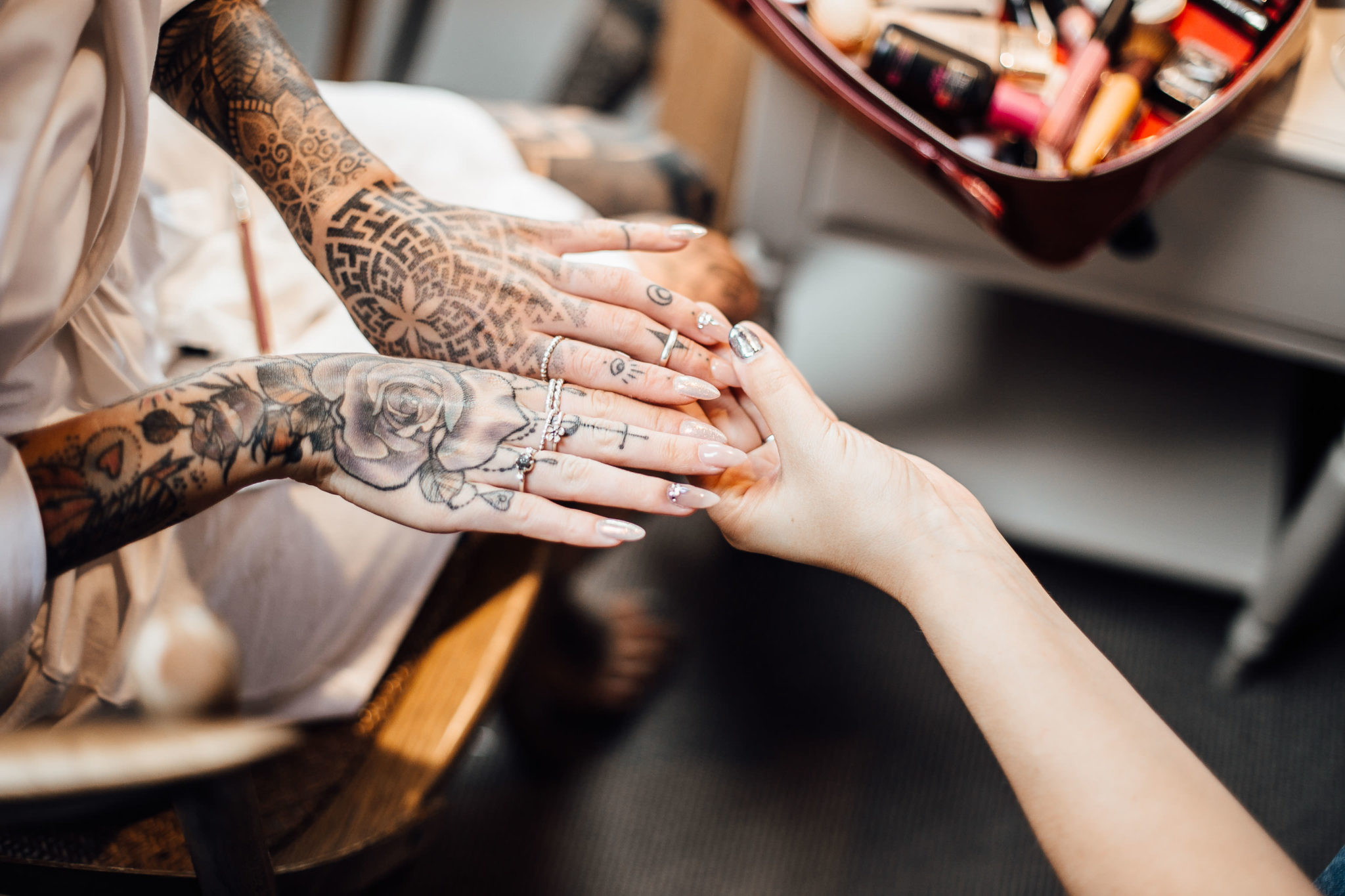 tattoed bride hands