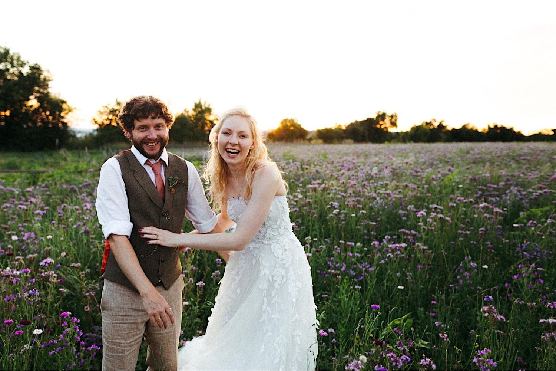wild flower field wedding