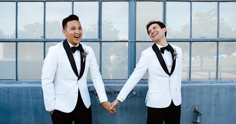 gay wedding white tux