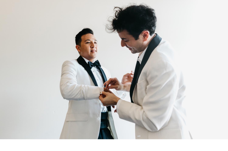 white tux lgbtq gay wedding uk