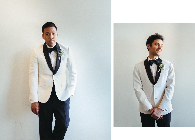 white suits gay wedding groom prep