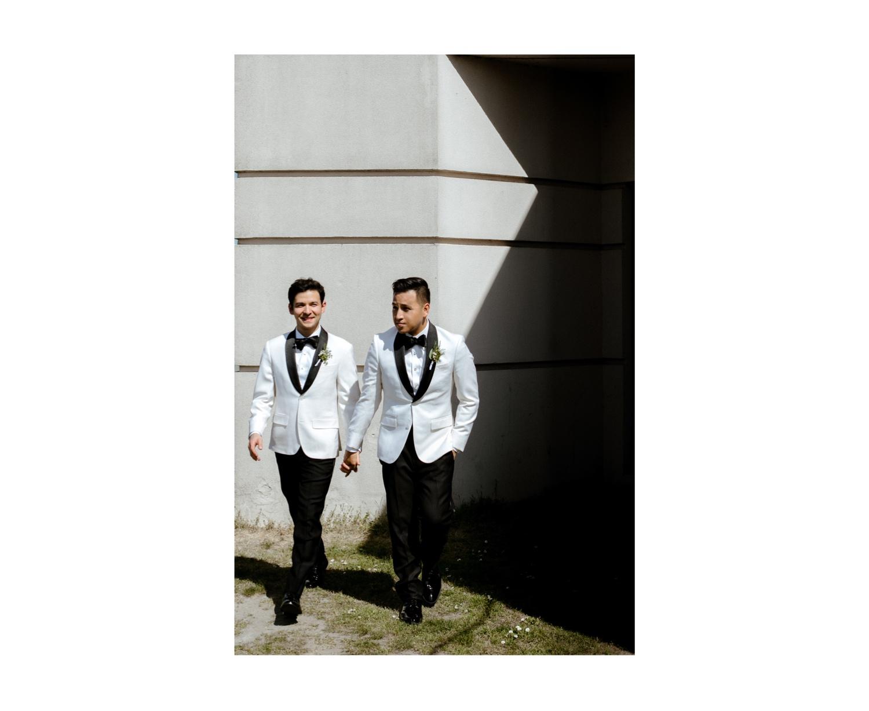 gay wedding uk lgbtq white tux