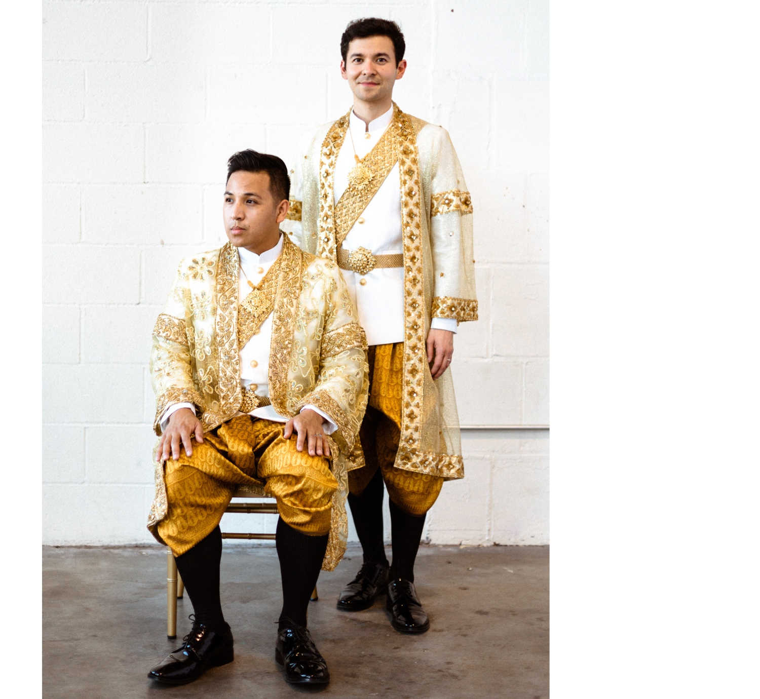 gold cambodian wedding outfit