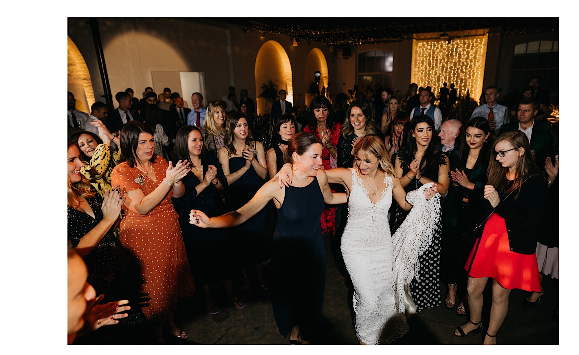 greek dancing at trinity buoy wharf wedding venue