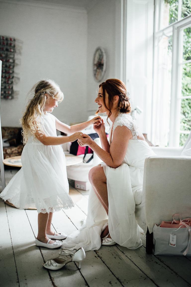bride and gflowergirl portrait - brighton wedding photographer